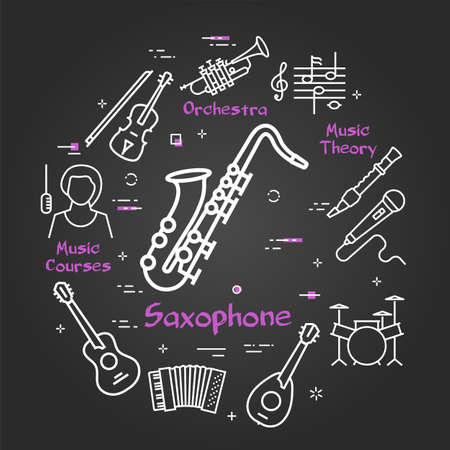 Vector black linear banner for music - Saxophone and Jazz
