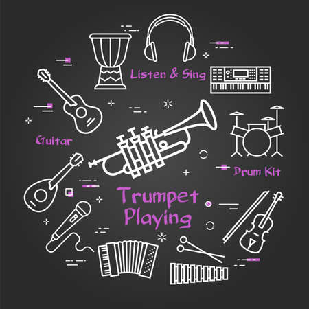 Vector black linear banner for music - trumpet playing