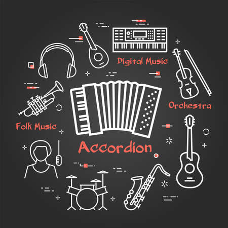 Vector black linear banner for music - accordion instrument