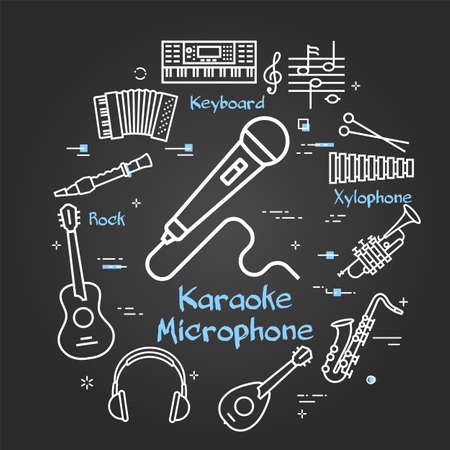 Vector black linear banner for music - Karaoke Microphone  イラスト・ベクター素材
