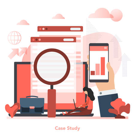 Vector red square concept of case study in flat style Illustration