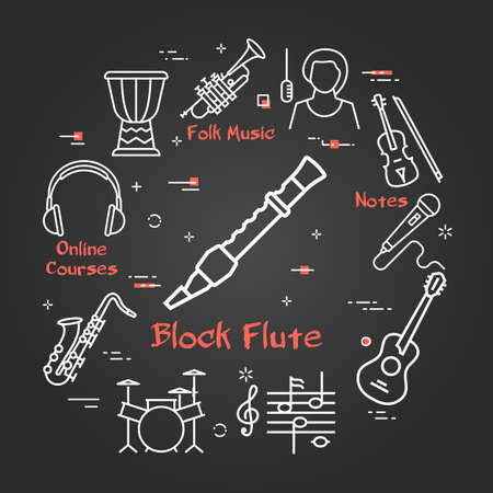 Vector black linear banner for music - block flute  イラスト・ベクター素材