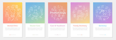 Vertical five banners with line concept of dentistry - dental clinic and family dentistry Illustration