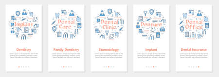 Vertical five banners with line concept of dentistry - stomatology and implant Illustration