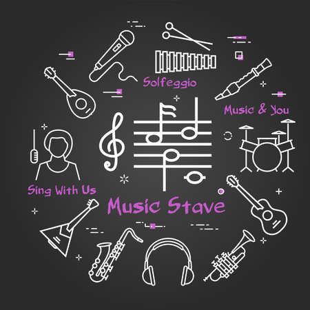 Vector black linear banner for music - Notes Stave
