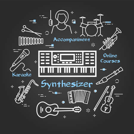 Vector black linear banner for music - Synthesizer playing
