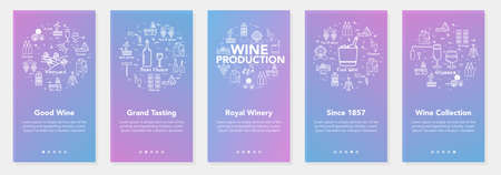 Vertical five banners with line concept of winemaking - grand tasting and royal winery