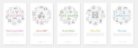 Vertical five banners with line concept of winemaking - Great Wines and Wine Sale Illustration