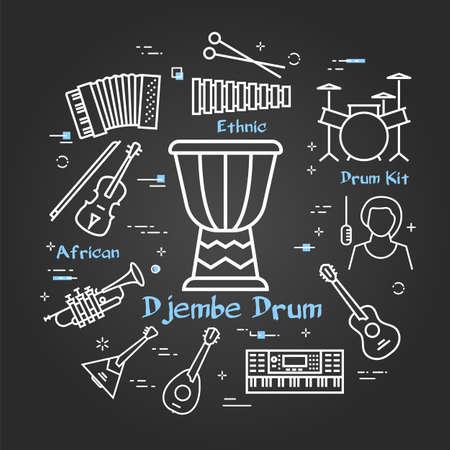 Vector black linear banner for music - djembe drum Illustration