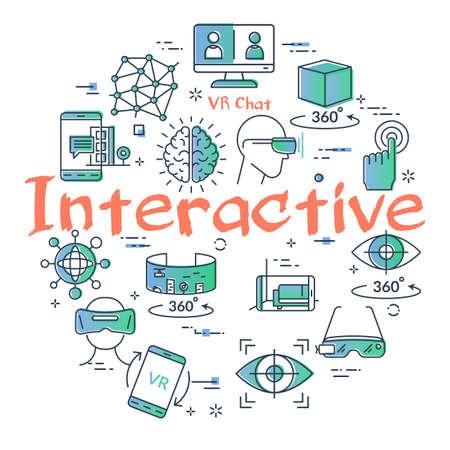 Vector virtual reality concept with Interactive text