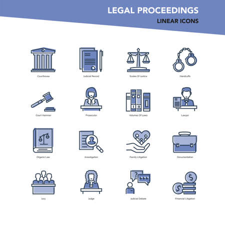 Vector set of color line icons of legal proceedings and law