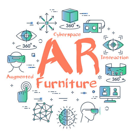 Vector virtual reality concept with AR furniture text