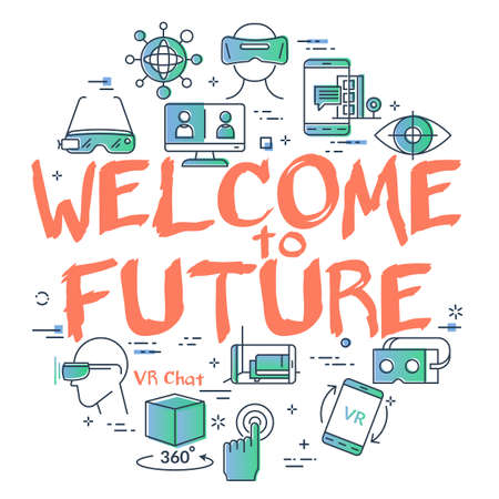 Vector virtual reality concept with Welcome to Future text