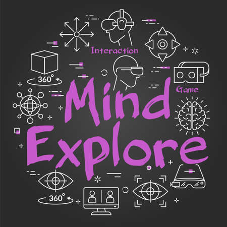 Vector virtual reality black concept with Mind Explore text