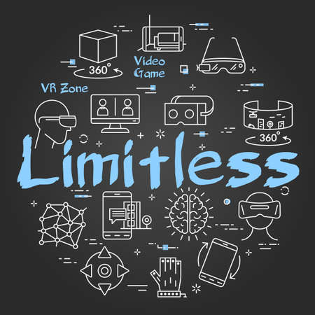 Vector virtual reality black concept with Limitless text 向量圖像