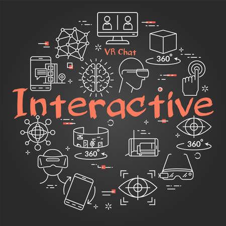 Vector virtual reality black concept with Interactive text