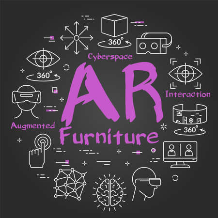 Vector virtual reality black concept with AR furniture text