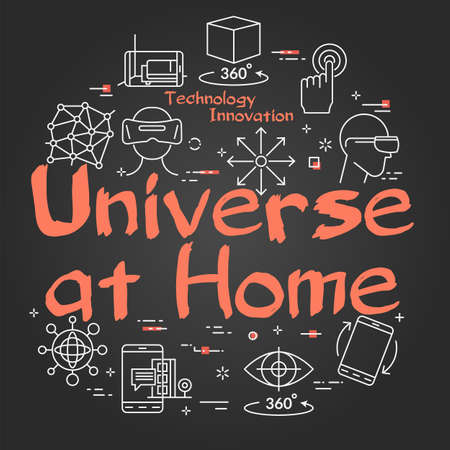 Vector virtual reality black concept with Universe at Home text 向量圖像
