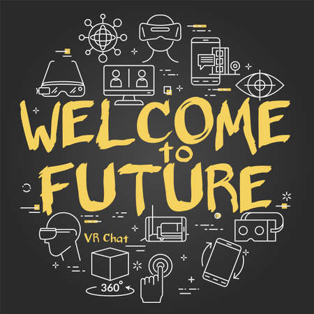 Vector virtual reality black concept with Welcome to Future text