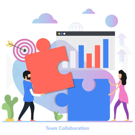 Vector square concept of team collaboration in flat style