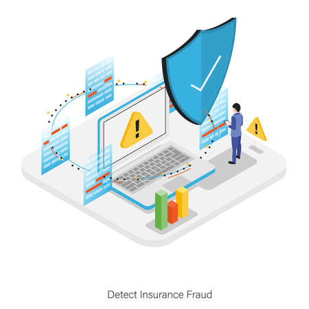 Detect Insurance Fraud Isometric Square Vector Icon