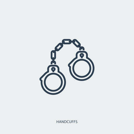 Vector outline icon of legal proceedings - handcuffs