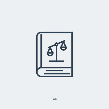 Vector outline icon of legal proceedings - law book - FAQ symbol