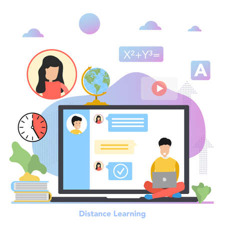 Vector square concept of Distance Learning in flat style