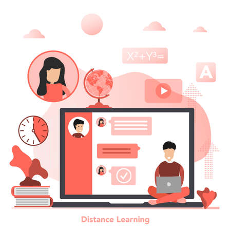 Vector red square concept of Distance Learning in flat style 向量圖像