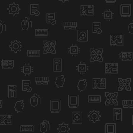 Vector seamless pattern with computer hardware line icons on black 向量圖像
