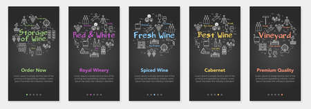 Vertical black five banners with line concept of winemaking - storage, fresh and vineyard 向量圖像