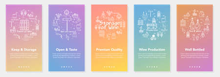Vertical five color banners with line concept of winemaking - premium quality and well bottled wine