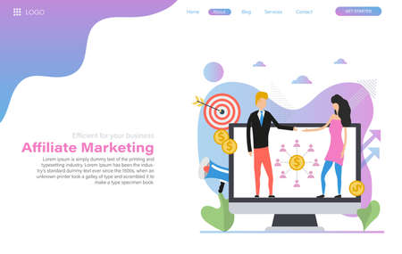 Vector web header template of affiliate marketing