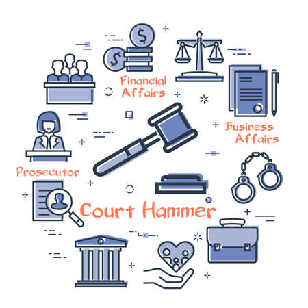 Vector line banner of legal proceedings - court hammer icon