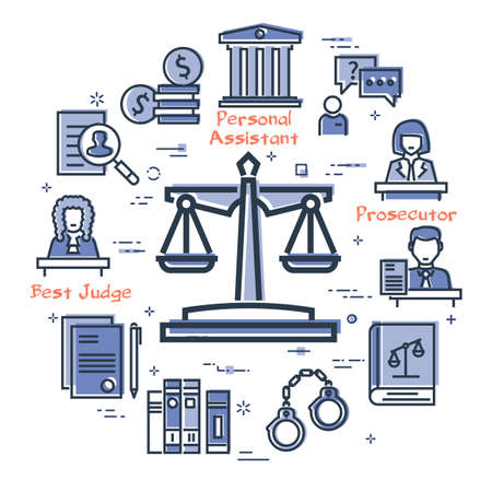Vector line banner of legal proceedings - scales of justice icon 向量圖像