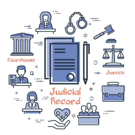Vector line banner of legal proceedings - judicial record icon 向量圖像