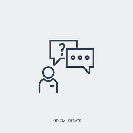Vector outline icon of legal proceedings - judicial debate