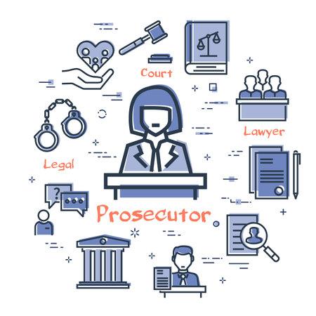 Vector line banner of legal proceedings - prosecutor icon Illusztráció
