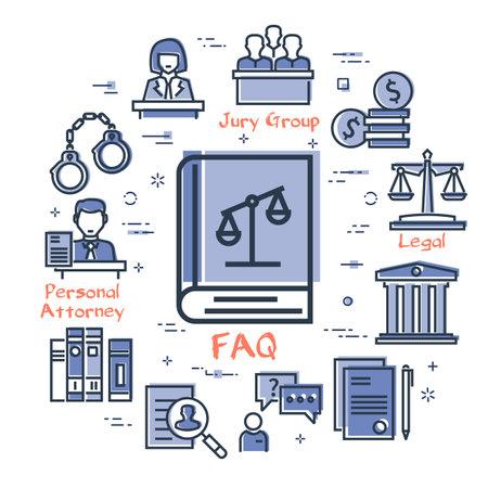 Vector line banner of legal proceedings - faq book icon Illusztráció