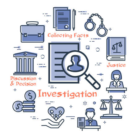 Vector line banner of legal proceedings - investigation icon