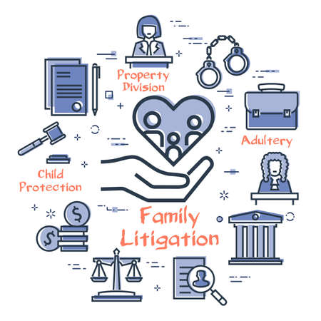 Vector line banner of legal proceedings - family litigation icon