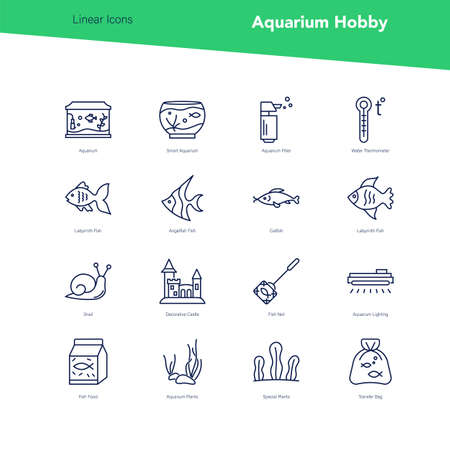 Vector banner set of linear icons, aquarium hobby Illustration