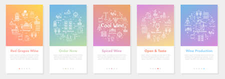 Vertical five banners with line concept of winemaking - wine order and production Illustration