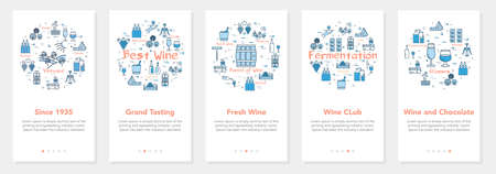 Vertical five banners with line concept of winemaking - grand tasting and wine club Ilustrace