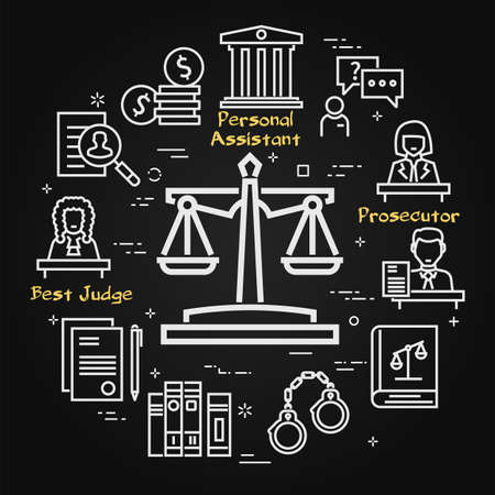 Vector black line banner of legal proceedings - scales of justice icon Illustration