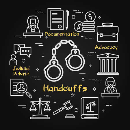 Vector black line banner of legal proceedings - handcuffs icon Illustration