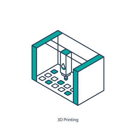 Vector illustration of 3D printing isometric icon
