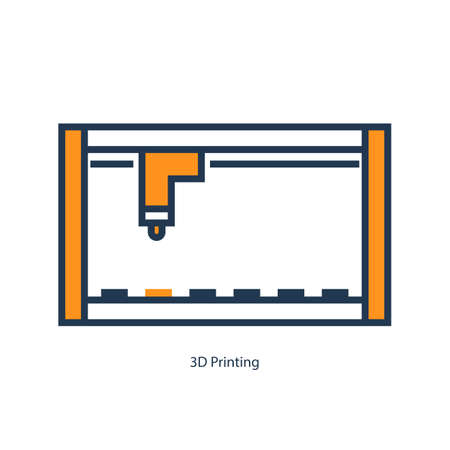 Vector orange illustration of 3D printing icon, flat banner.