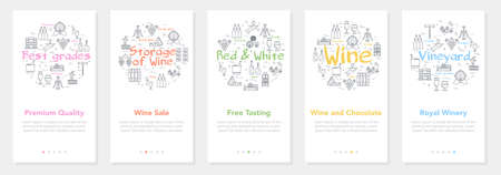 Vertical five banners with line concept of winemaking - premium quality and wine sale