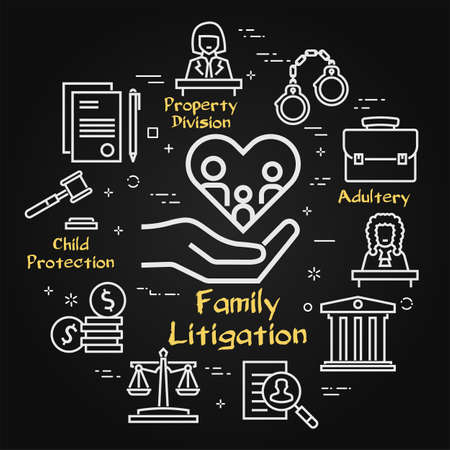 Vector black line banner of legal proceedings - family litigation icon